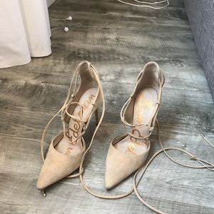 Sam edelman nude suede lace up pumps